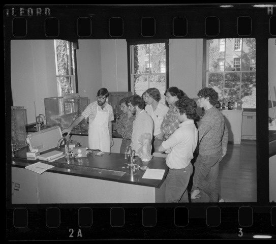 Photographs of neuroscience classes and labs in session, 1974 September