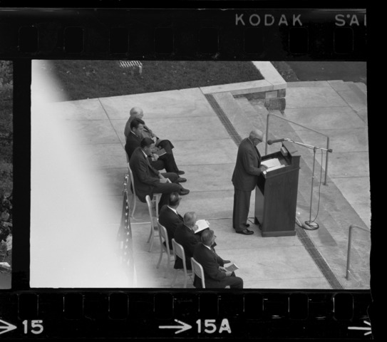 Photographs of the dedication of Robert Frost Library, 1965 October 24