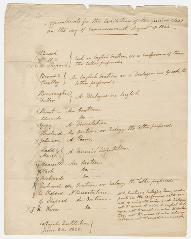 Appointments for the Junior Exhibition, 1823 June 24