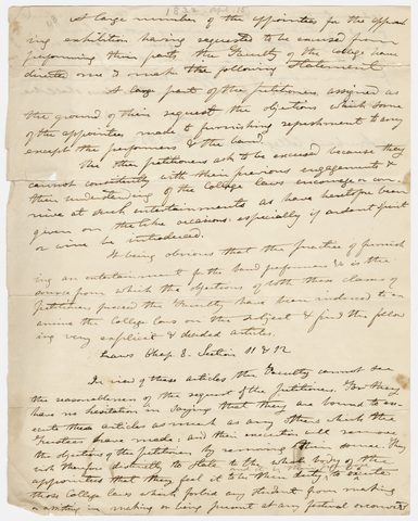 Edward Hitchcock statement regarding a student petition, 1832 April 15