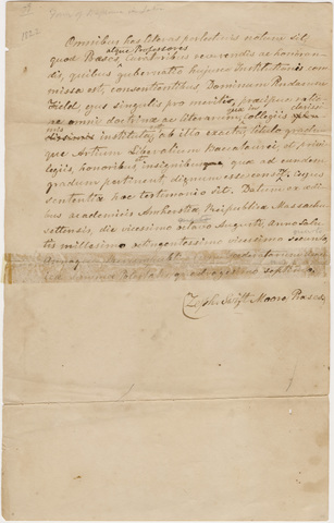Zephaniah Swift Moore graduation testimonial in Latin, 1822 August 28