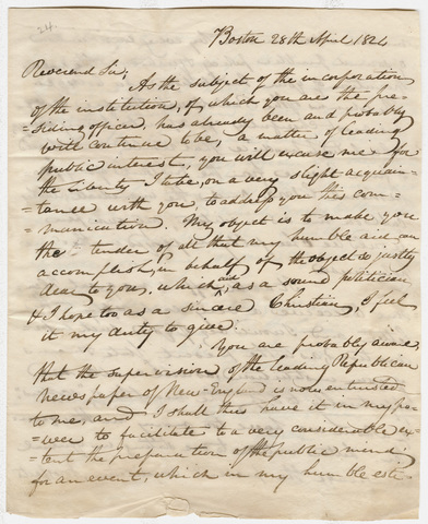 John Brazer Davis letter to Heman Humphrey, 1824 April 28