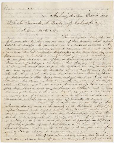 Anti-Slavery Society letter to the faculty, 1834 October 21