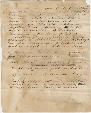 Document regarding the conferral of master's and honorary degrees, 1834