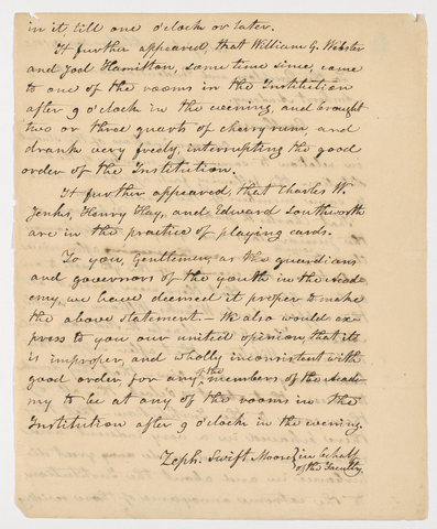 Zephaniah Swift Moore letter to the Preceptors and Prudential Commitee of Amherst Academy, 1821 November 10