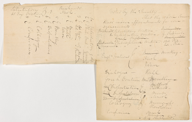Draft of student appointments for Commencement, 1824