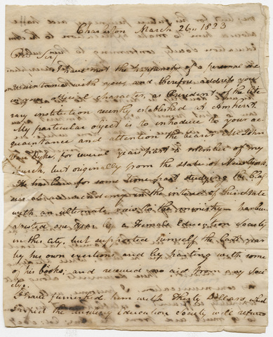 Benjamin Morgan Palmer letter to Zephaniah Swift Moore, 1823 March 26