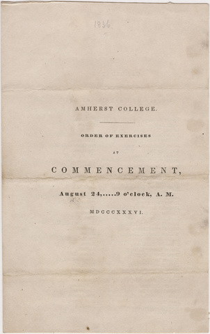 Amherst College Commencement program, 1836 August 24
