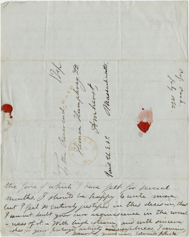Edwards Amasa Park letter to the Trustees of Amherst College with note to Heman Humphrey, 1844 June 28