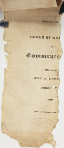 Handwritten Commencement program in Latin, 1830