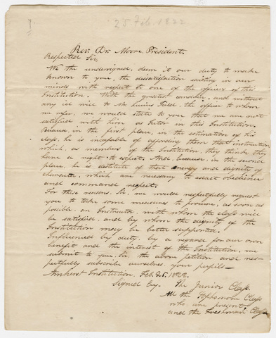 Student petition to Zephaniah Swift Moore, 1822 February 25