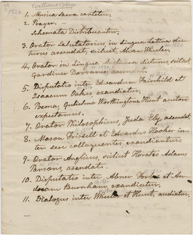 Handwritten transcription of Williams College Commencement program, 1820