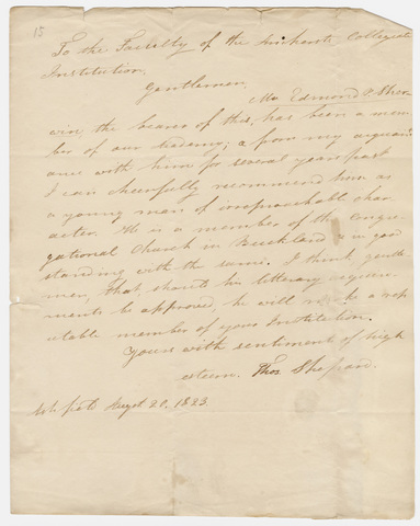 Thomas Shepard letter to the faculty of the Collegiate Institution, 1823 August 20
