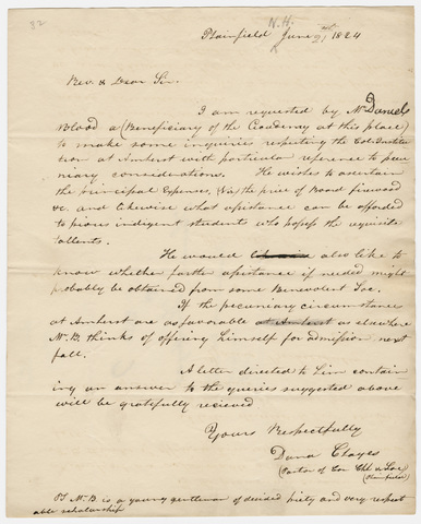Dana Clayes letter to Heman Humphrey, 1824 June 21
