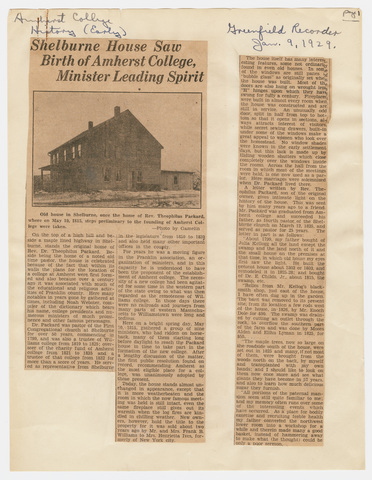 Shelburne house saw birth of Amherst College, minister leading spirit