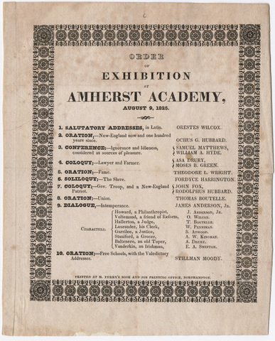 Amherst Academy exhibition program, 1825 August 9