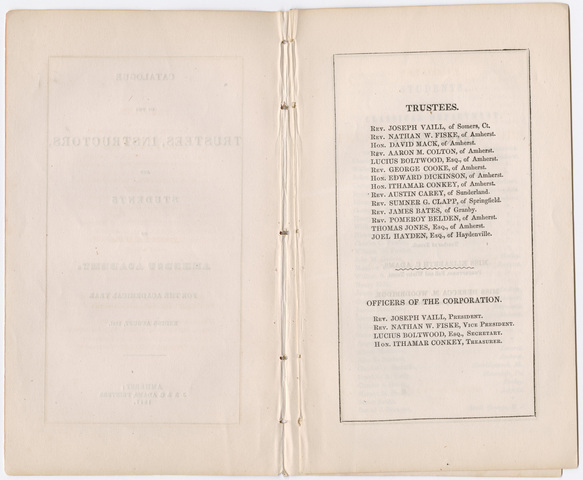 Amherst Academy catalog, 1846/1847 and Amherst Academy exhibition program, 1847