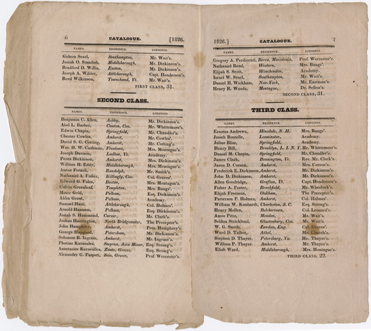 Amherst Academy catalog, 1826 summer term