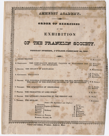 Order of exercises at the exhibition of the Franklin Society, 1827 February 20