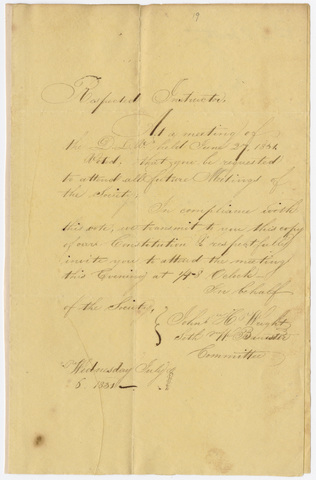 John H. Wright and Seth W. Banister letter to Simeon Colton, 1831 July 6