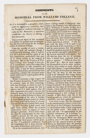 Compilation of statements in favor of granting charter to Amherst College, 1824