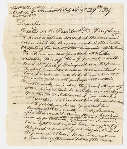 Hezekiah Wright Strong letter to unidentified recipient, 1839 August 29