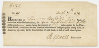 Thomas Bond receipt for Charity Fund subscription, 1819 August 7