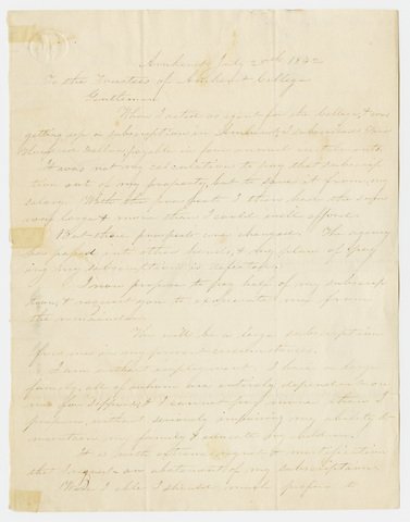 William Tyler letter to the Trustees of Amherst College, 1842 July 25