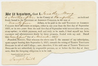 Jonathan Strong subscription promissory note, 1827 November 21