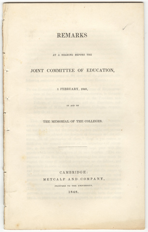 Remarks at a hearing before the Joint Committee of Education, 1 February, 1848