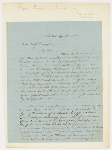 Linus Child letter to Heman Humphrey, 1844 October 7