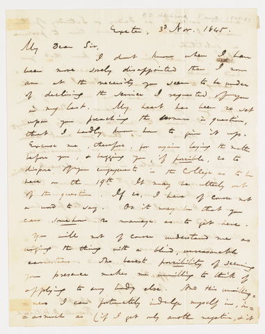 Roswell Dwight Hitchcock letter to Edward Hitchcock, 1845 November 30