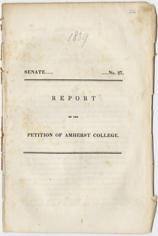 Report on the petition of the Trustees of Amherst College, Senate No. 27