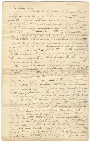 George Bliss speech in support of granting aid to Amherst College, 1832 February