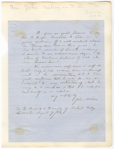 John Nelson letter to the President and faculty of Amherst College, 1852 August 9