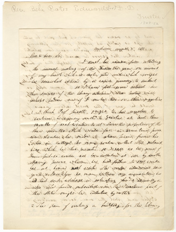 Bela Bates Edwards letter to Edward Hitchcock, 1851 August 8