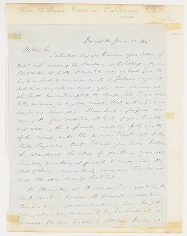 William Barron Calhoun letter to Edward Hitchcock, 1847 June 21