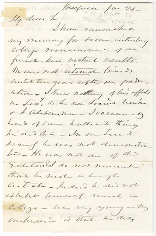 Edward Bates Gillett letter to an unknown recipient, January 20