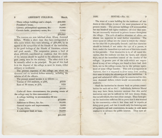 Report on the petition of the Trustees of Amherst College, House No. 45