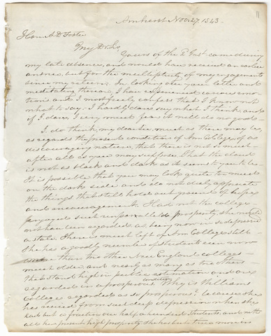 Letter from an unidentified correspondent to Alfred Dwight Foster, 1843 November 27