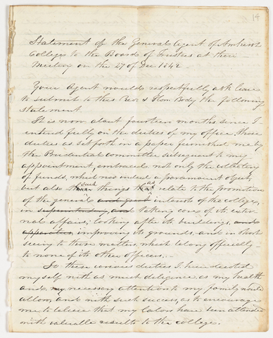 Joseph Vaill statement as General Agent of Amherst College submitted to the Board of Trustees, 1842 December 27