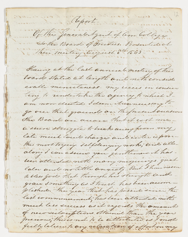 Joseph Vaill report as General Agent of Amherst College submitted to the Board of Trustees, 1843 August 8