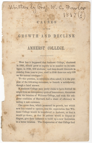 Causes of the growth and decline of Amherst College