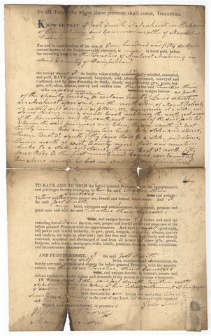 Joel Smith deed to the Trustees of Amherst Academy, 1821 November 27