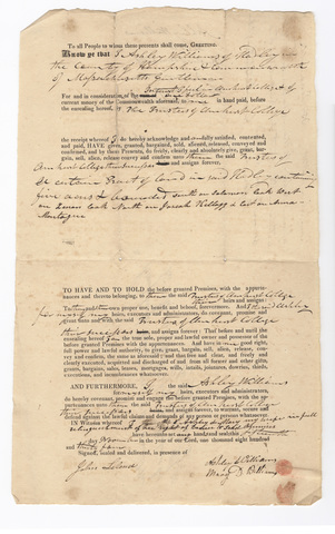 Ashley Williams deed to the Trustees of Amherst College, 1834 November 15