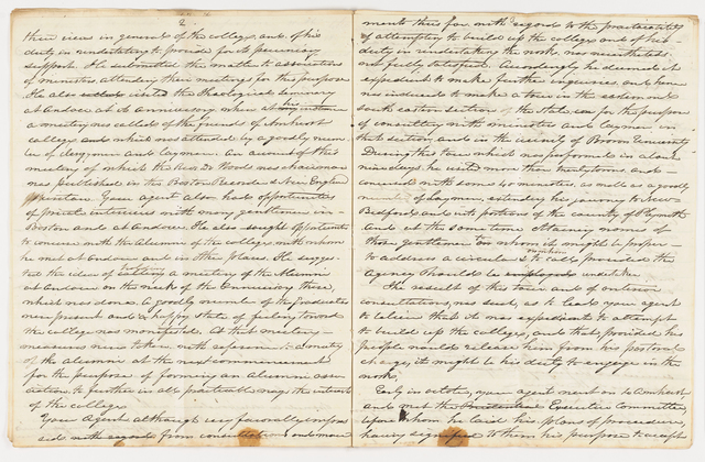 Joseph Vaill drafts of report as General Agent of Amherst College, 1842 August