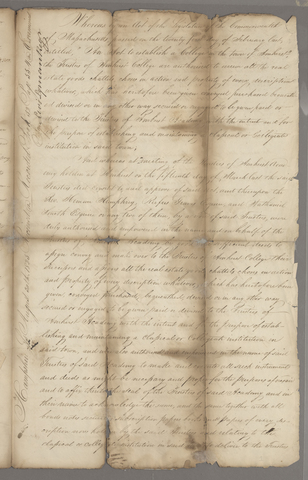 Trustees of Amherst Academy deed to the Trustees of Amherst College, 1825 April 13