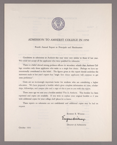 Amherst College annual report to secondary schools and report on admission to Amherst College, 1950