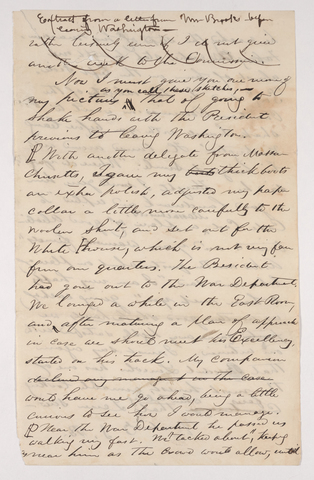 Sidney Brooks excerpt of a letter to an unknown recipient, 1864