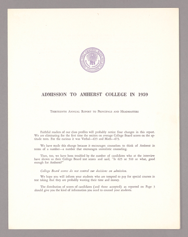 Amherst College annual report to secondary schools, 1959